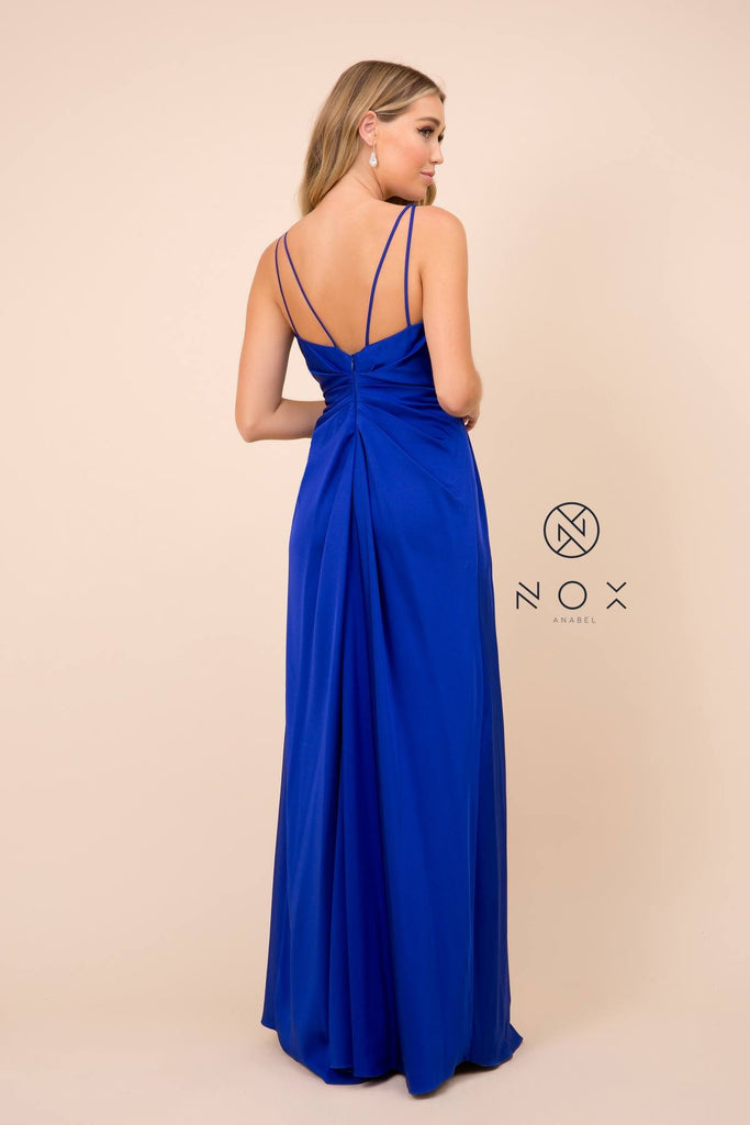 Nox Anabel 8347 Long Royal Blue Bridesmaid A-Line Satin Dress Pleated Slit
