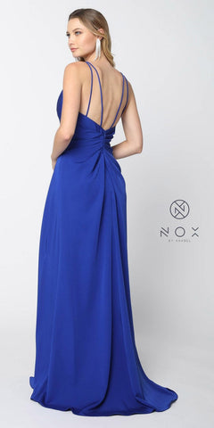 Nox Anabel 8347 Ruched Satin V-Neck Long Evening Gown Front Slit Royal Blue