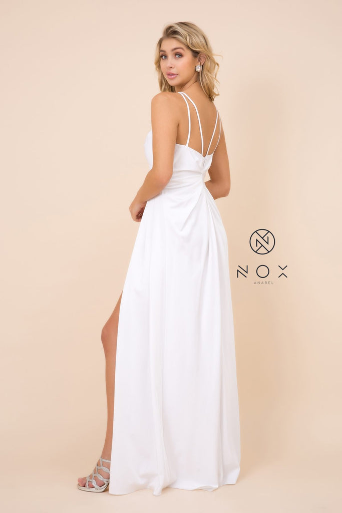 Nox Anabel 8347 Long White Bridesmaid A-Line Satin Dress Pleated Slit