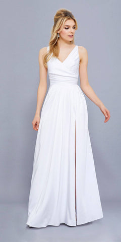 Nox Anabel 8347 Ruched Satin V-Neck Long Evening Gown Front Slit White