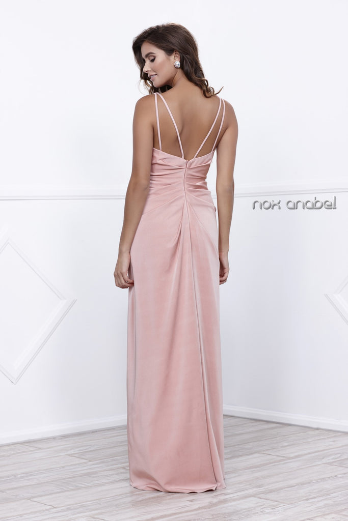 Nox Anabel 8347 Ruched Satin V-Neck Long Evening Gown Front Slit Rose