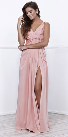 Ruched Satin V-Neck Long Evening Gown Front Slit Rose