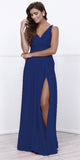 Nox Anabel 8347 Ruched Satin V-Neck Long Evening Gown Front Slit Royal