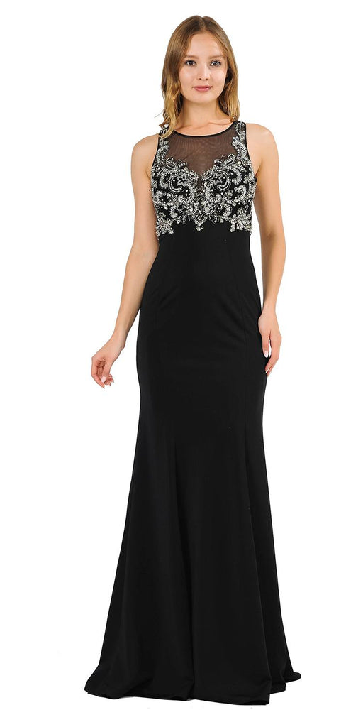 Black Mermaid Sleeveless Prom Gown with Keyhole Back