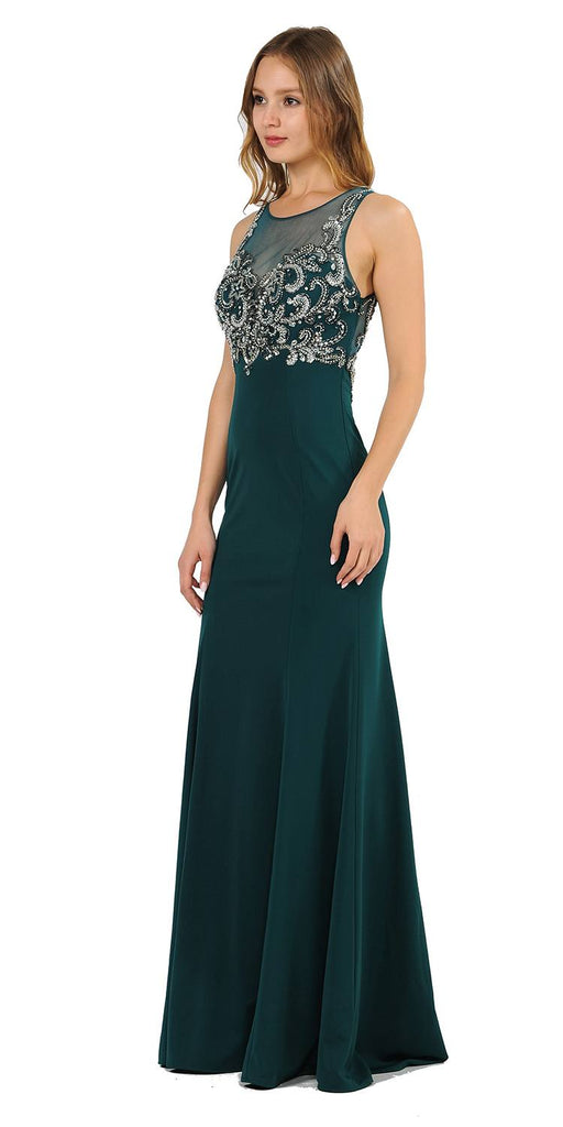 Green Mermaid Sleeveless Prom Gown with Keyhole Back