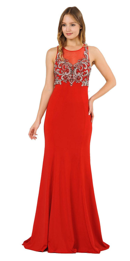 Red Mermaid Sleeveless Prom Gown with Keyhole Back