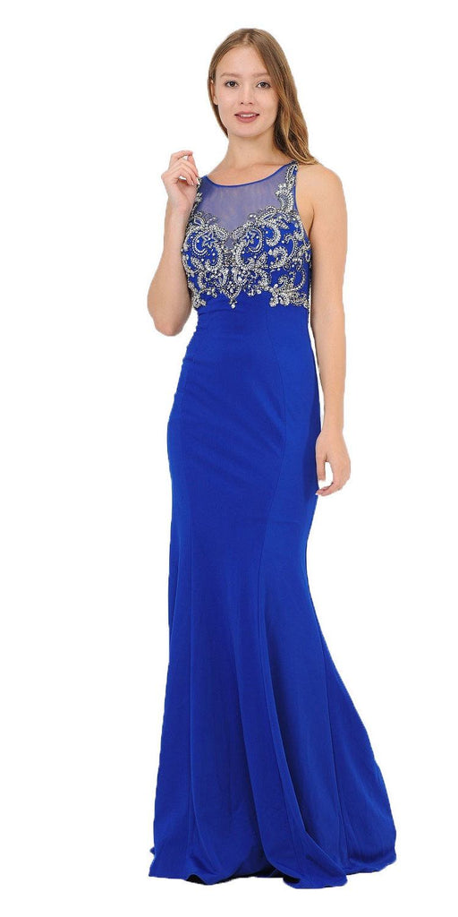 Royal Blue Mermaid Sleeveless Prom Gown with Keyhole Back