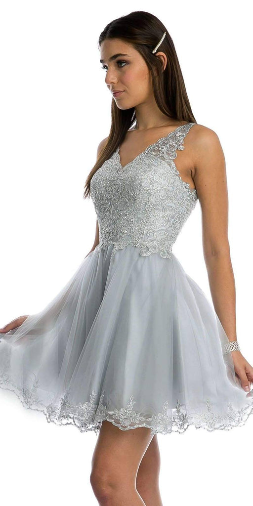 Lace Applique Bodice Silver Homecoming Short Dress