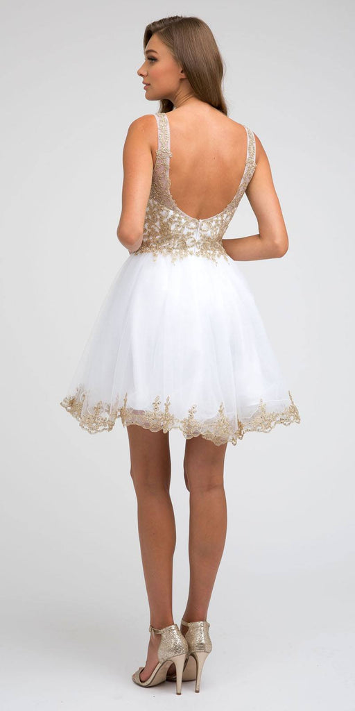 Juliet 835 Short Tulle A-Line White/Gold Homecoming Dress Lace Applique Bodice
