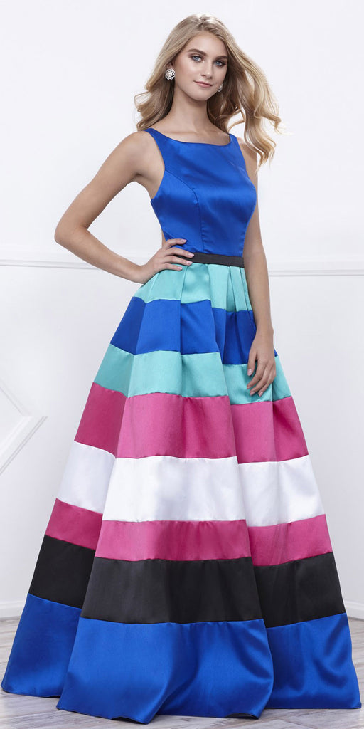 Bateu Neck Sleeveless Multi-Color Long Prom Dress with Cut-Out Back