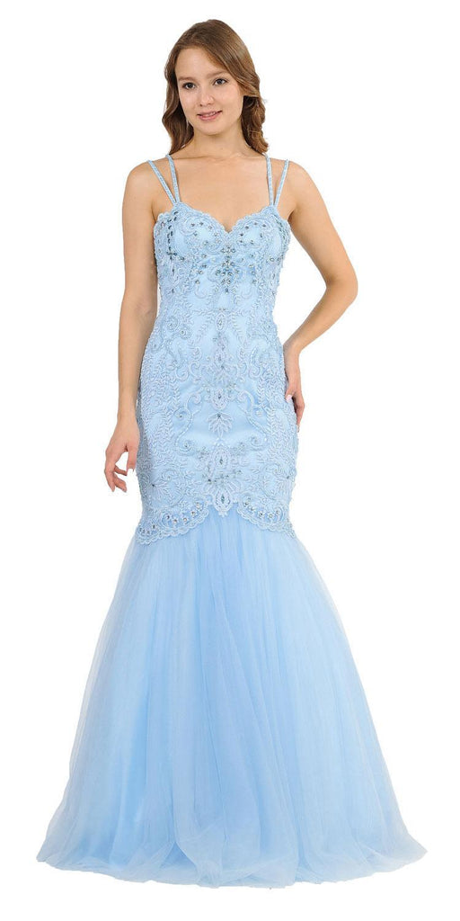 Embroidered-Lace Mermaid Long Prom Dress Ice Blue