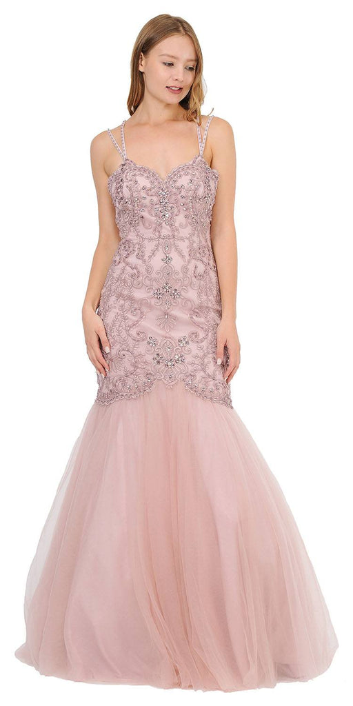 Embroidered-Lace Mermaid Long Prom Dress Mauve