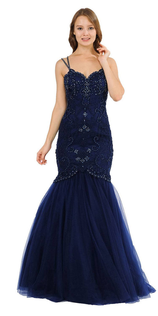 Embroidered-Lace Mermaid Long Prom Dress Navy Blue