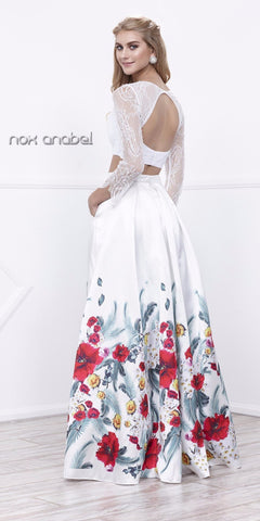 White Long Sleeves Crop Top Print Skirt Two-Piece Prom Gown