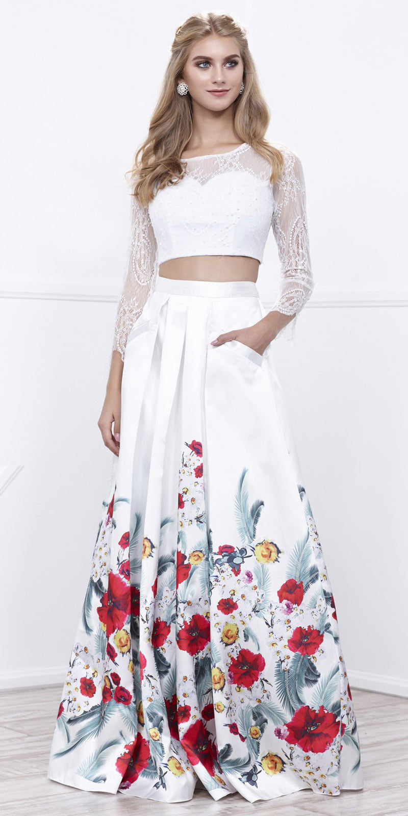 6c223853d034a White Long Sleeves Crop Top Print Skirt Two-Piece Prom Gown. Tap to expand