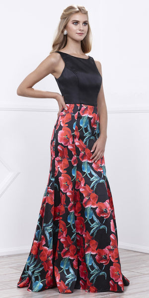Printed Skirt Black Cut-Out Back Fit and Flare Prom Dress Long