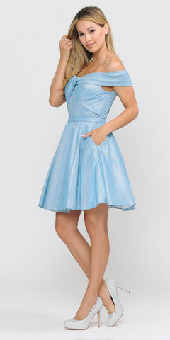 Poly USA 8356 Baby Blue Homecoming Short Dress Off-Shoulder
