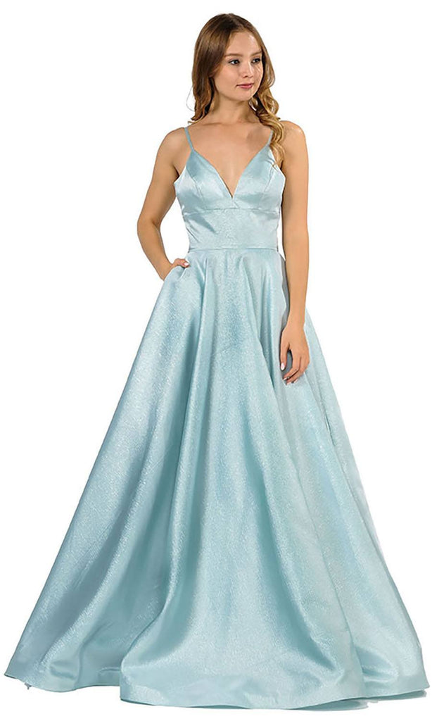 V-Neck Long Prom Dress with Pockets Blue