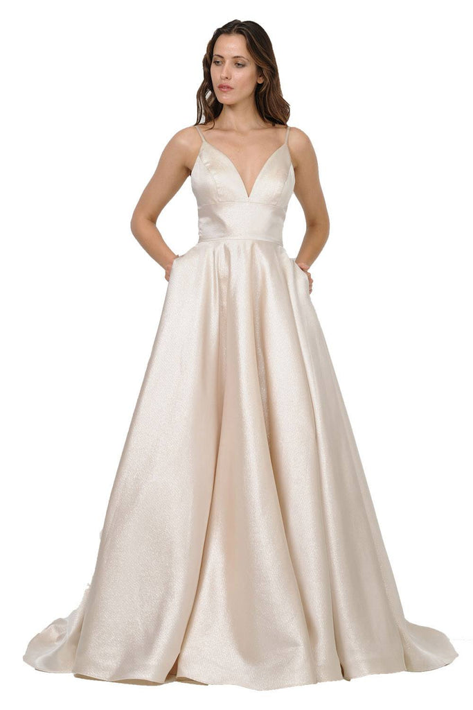V-Neck Long Prom Dress with Pockets Champagne
