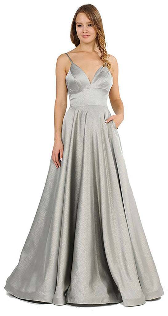 V-Neck Long Prom Dress with Pockets Gray