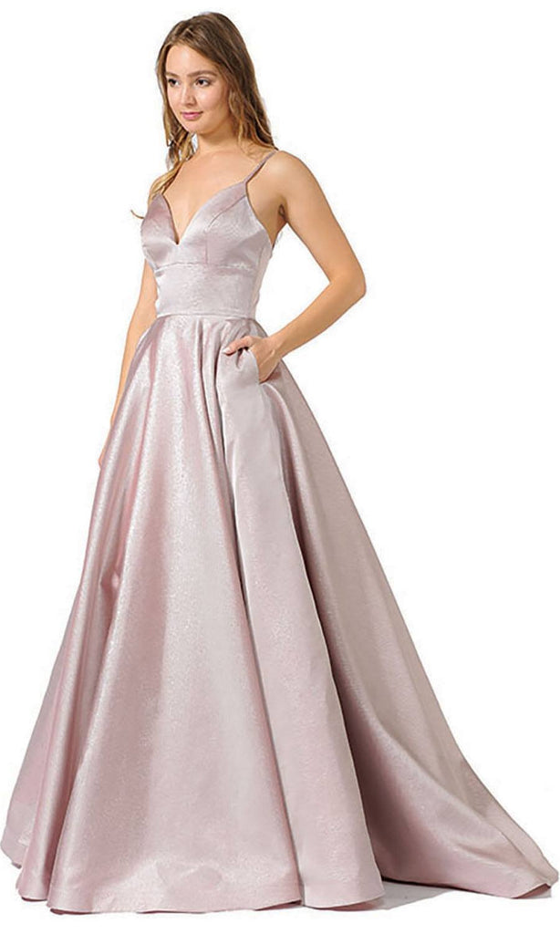 V-Neck Long Prom Dress with Pockets Mauve