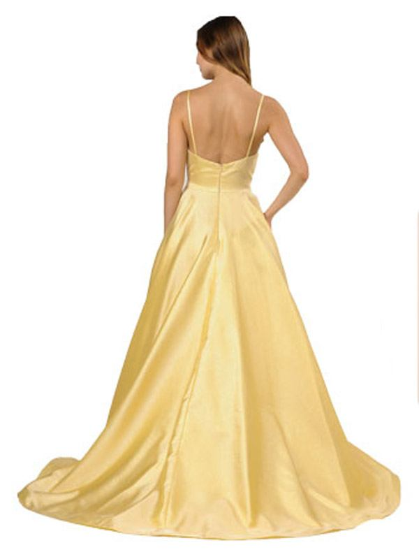 V-Neck Long Prom Dress with Pockets Yellow