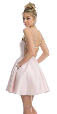 Embellished Strappy-Back Homecoming Short Dress Blush