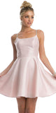 Juliet 836 Embellished Strappy-Back Homecoming Short Dress Blush