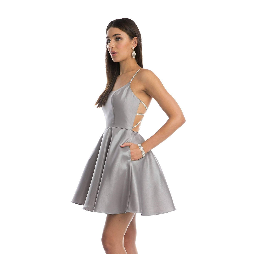 Juliet 836 Embellished Strappy-Back Homecoming Short Dress Charcoal