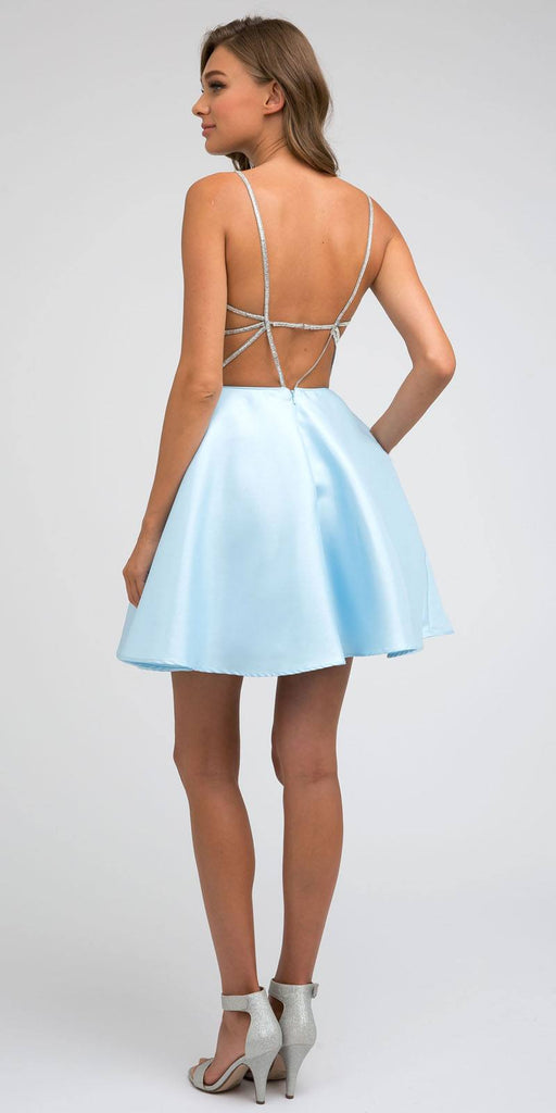 Juliet 836 Embellished Strappy-Back Homecoming Short Dress Ice Blue