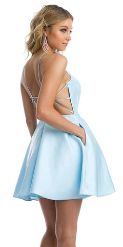 Embellished Strappy-Back Homecoming Short Dress Ice Blue