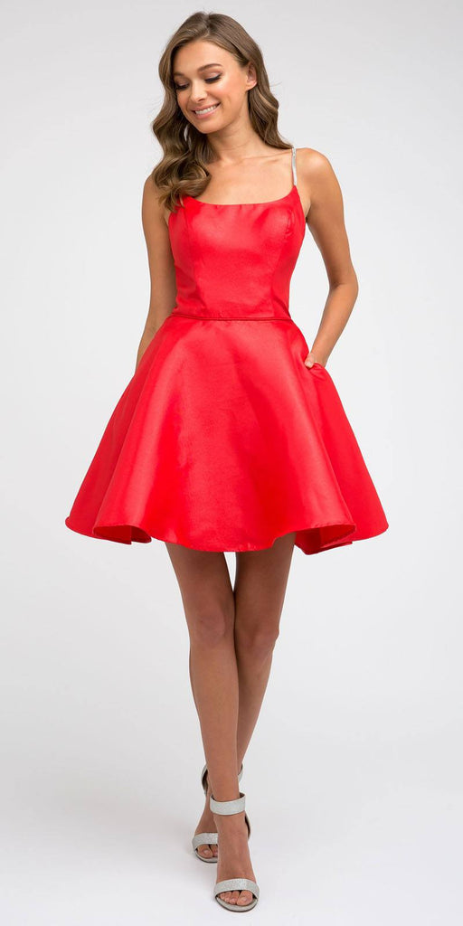 Juliet 836 Embellished Strappy-Back Homecoming Short Dress Red