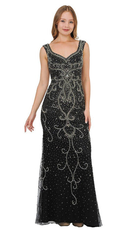 Black Beaded Long Formal Dress Sleeveless