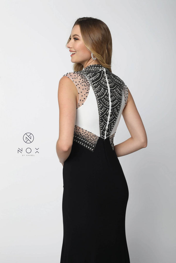 Close Neck White and Black Embellished Evening Gown with Train