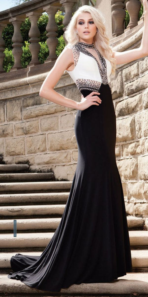 Nox Anabel 8364 Elegant White/Black Floor Length Dress Train Sleeveless