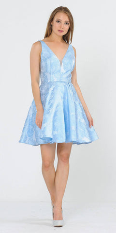 V-Neck and Back Baby Blue Homecoming Short Dress