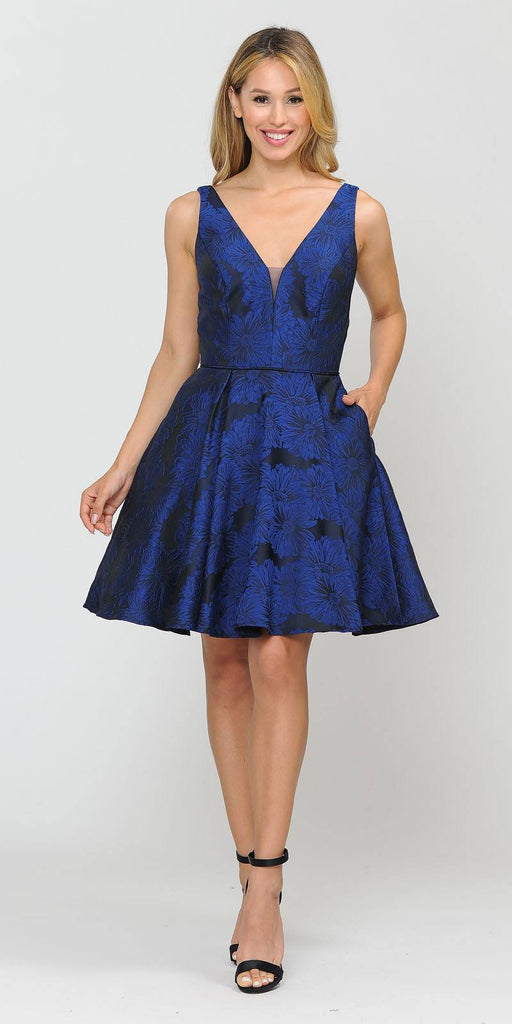 Poly USA 8366 V-Neck and Back Navy Blue Homecoming Short Dress