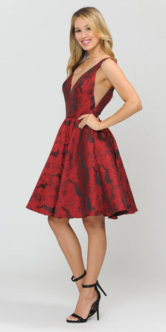 Poly USA 8366 V-Neck Red Homecoming Short Dress