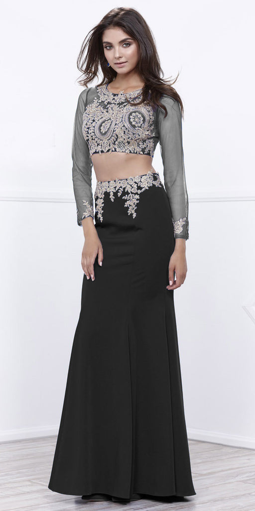 Black Sheer Long Sleeves Two-Piece Prom Dress with Appliques