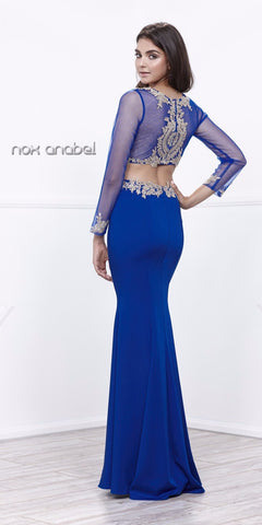 Royal Blue Sheer Long Sleeves Two-Piece Prom Dress with Appliques
