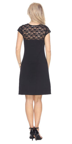 Short Pelagia Dress Black Crochet Lace Neck/Hem Cap Sleeve