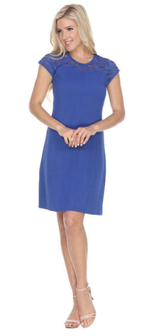 Short Pelagia Dress Royal Blue Crochet Lace Neck/Hem Cap Sleeve