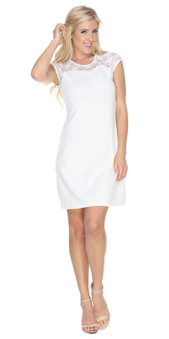 Short Pelagia Dress White Crochet Lace Neck/Hem Cap Sleeve