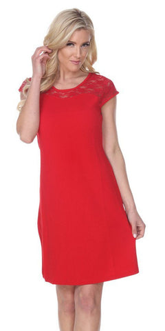 Short Pelagia Dress Red Crochet Lace Neck/Hem Cap Sleeve