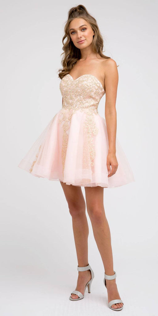 Juliet 837 Short Tulle A-Line Damas Blush Dress Strapless Embroidered