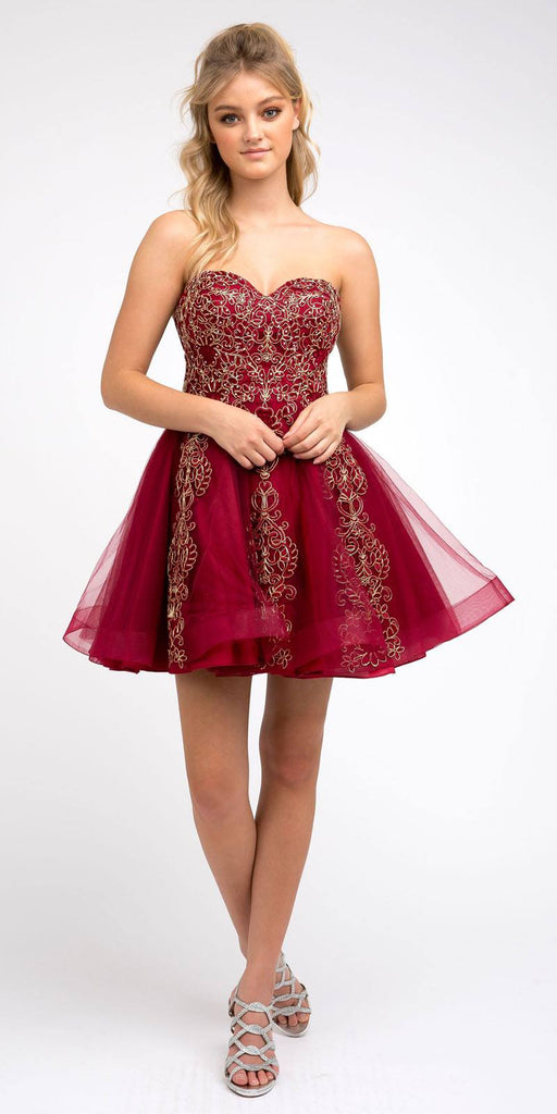 Juliet 837 Short Tulle A-Line Damas Burgundy Dress Strapless Embroidered