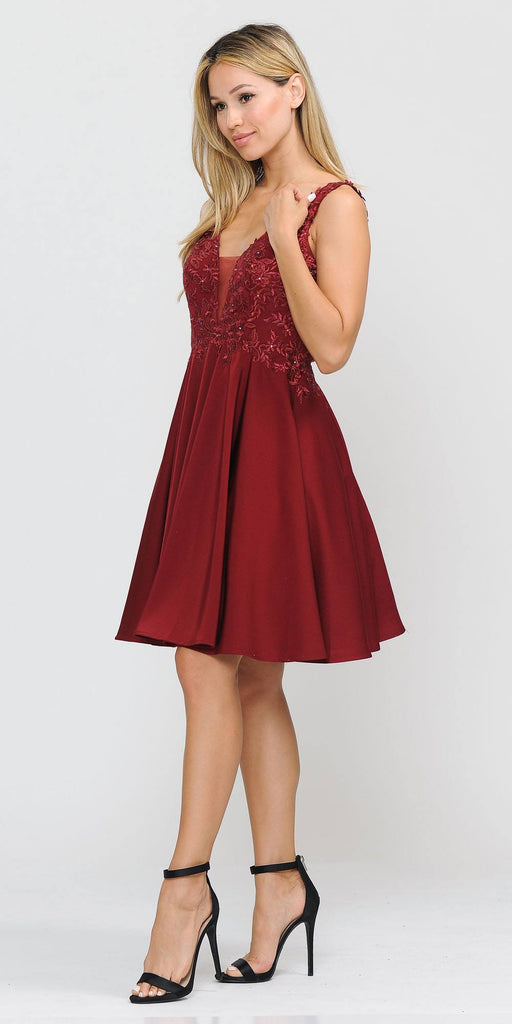 Poly USA 8370 Short Knee Length Burgundy Dress A-Line Embroidery Bodice