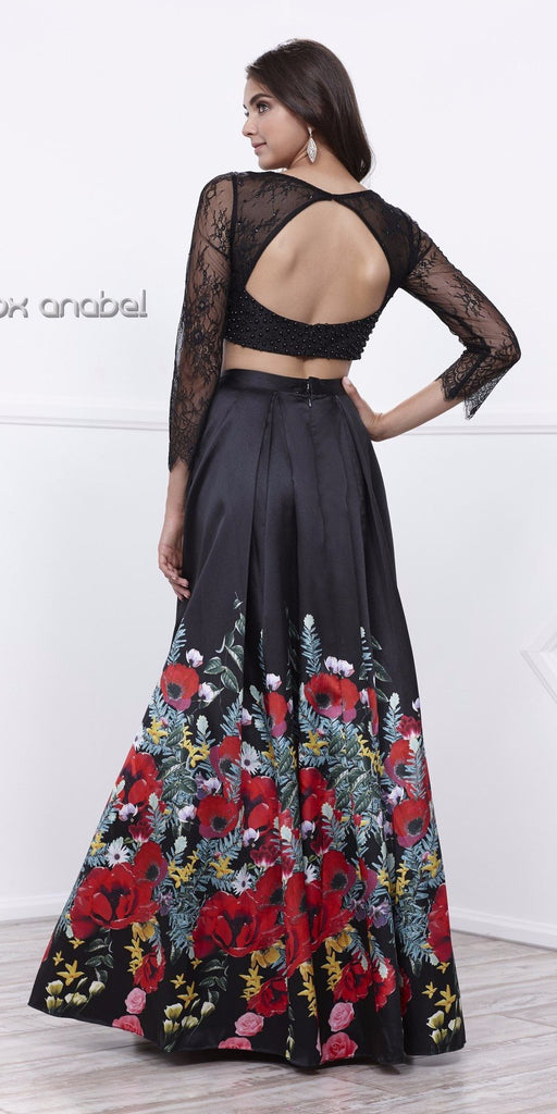 Black Printed Two-Piece Long Sleeves Prom Gown with Cut-Out Back