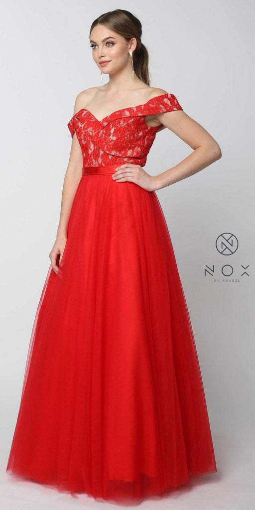 Nox Anabel 8372 Red Off-Shoulder Lace Bodice A-line Tulle Overlay Ball Gown