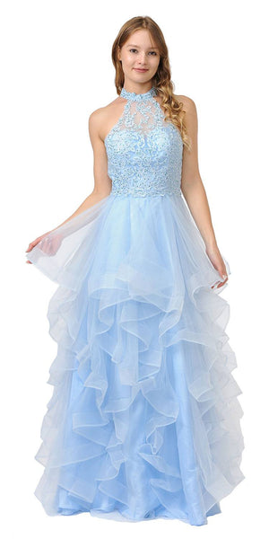 Halter Tiered Long Prom Dress Blue